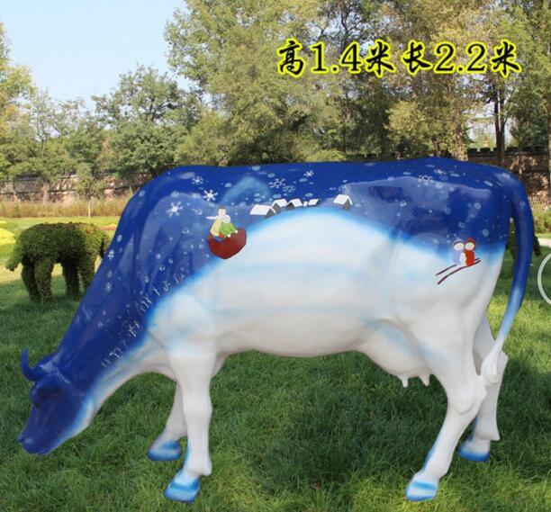 低头吃草创意彩色牛 (2)